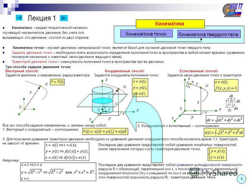Лекция 1 Кинематика – раздел теоретической механики, изучающий механическое движение без учета сил, вызывающих это движение, состоит из двух отделов: Кинематика точки – изучает движение материальной точки, является базой для изучения движения точек т