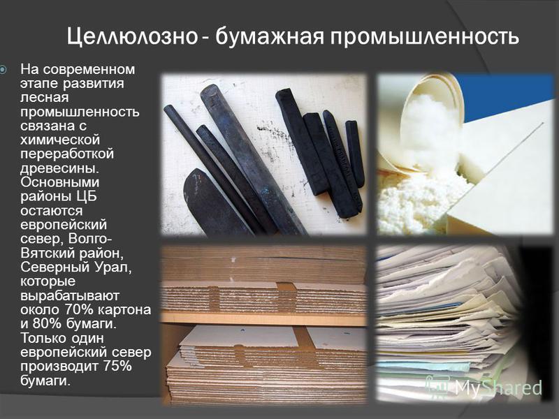 Целлюлозно - бумажная промышленность На современном этапе развития лесная промышленность связана с химической переработкой древесины. Основными районы ЦБ остаются европейский север, Волго- Вятский район, Северный Урал, которые вырабатывают около 70%