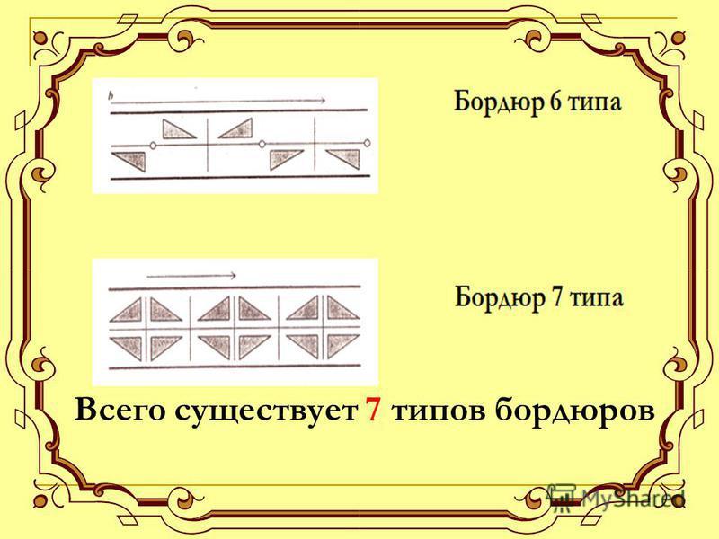 Всего существует 7 типов бордюров