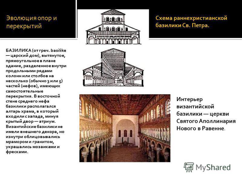 Эволюция опор и перекрытий БАЗИЛИКА (от греч. basilike царский дом), вытянутое, прямоугольное в плане здание, разделенное внутри продольными рядами колонн или столбов на несколько (обычно 3 или 5) частей (нефов), имеющих самостоятельные перекрытия. В