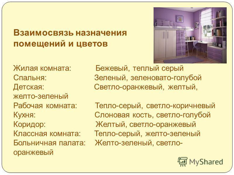 Взаимосвязь назначения помещений и цветов Жилая комната: Бежевый, теплый серый Спальня: Зеленый, зеленовато-голубой Детская: Светло-оранжевый, желтый, желто-зеленый Рабочая комната: Тепло-серый, светло-коричневый Кухня: Слоновая кость, светло-голубой
