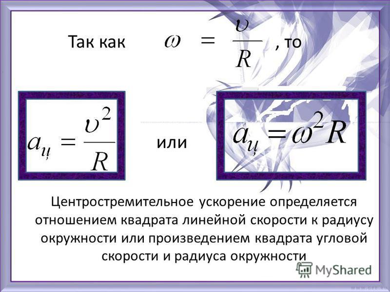 Центростремительное ускорение определяется отношением квадрата линейной скорости к радиусу окружности или произведением квадрата угловой скорости и радиуса окружности Так как, то или