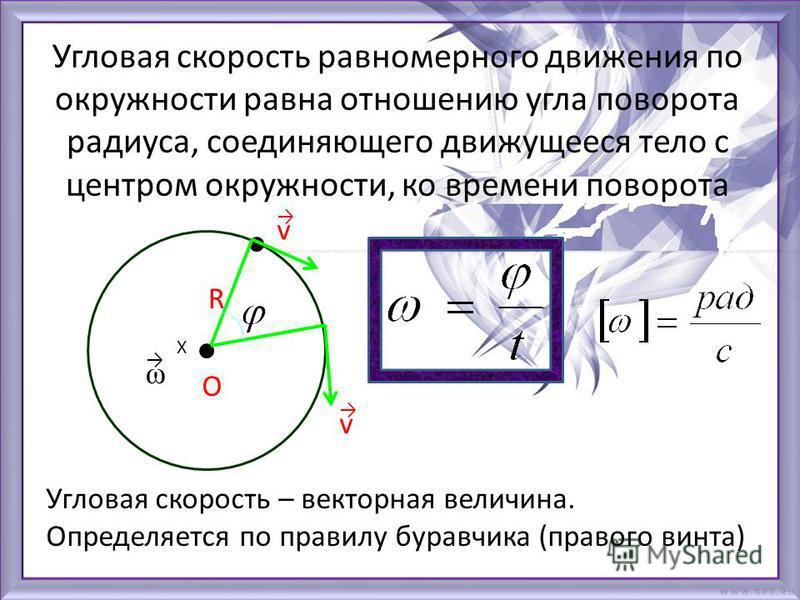 Угловая скорость равномерного движения по окружности равна отношению угла поворота радиуса, соединяющего движущееся тело с центром окружности, ко времени поворота О R Угловая скорость – векторная величина. Определяется по правилу буравчика (правого в