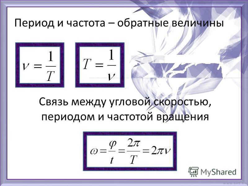 Период и частота – обратные величины Связь между угловой скоростью, периодом и частотой вращения