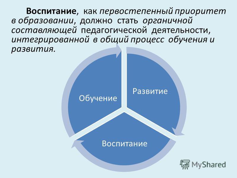 Воспитание, как первостепенный приоритет в образовании, должно стать органичной составляющей педагогической деятельности, интегрированной в общий процесс обучения и развития. Развитие Воспитание Обучение
