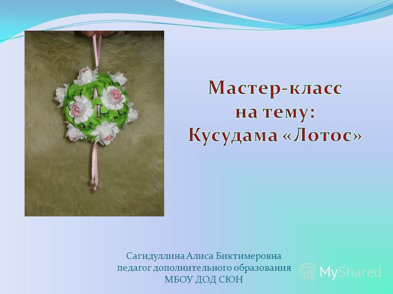 Сагидуллина Алиса Биктимеровна педагог дополнительного образования МБОУ ДОД СЮН