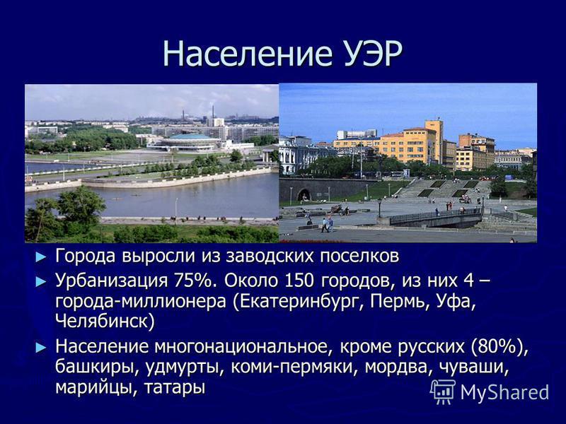 Население УЭР Города выросли из заводских поселков Урбанизация 75%. Около 150 городов, из них 4 – города-миллионера (Екатеринбург, Пермь, Уфа, Челябинск) Население многонациональное, кроме русских (80%), башкиры, удмурты, коми-пермяки, мордва, чуваши