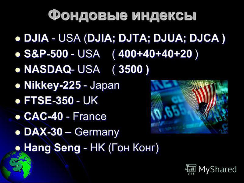 Фондовые индексы DJIA - USA (DJIA; DJTA; DJUA; DJCA ) DJIA - USA (DJIA; DJTA; DJUA; DJCA ) S&P-500 - USA ( 400+40+40+20 ) S&P-500 - USA ( 400+40+40+20 ) NASDAQ- USA ( 3500 ) NASDAQ- USA ( 3500 ) Nikkey-225 - Japan Nikkey-225 - Japan FTSE-350 - UK FTS