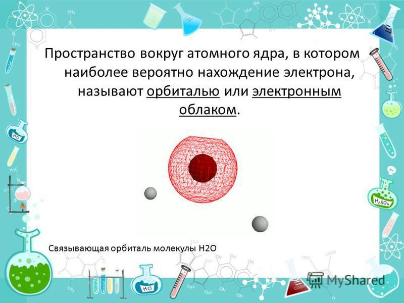 Пространство вокруг атомного ядра, в котором наиболее вероятно нахождение электрона, называют орбиталью или электронным облаком. Связывающая орбиталь молекулы H2O