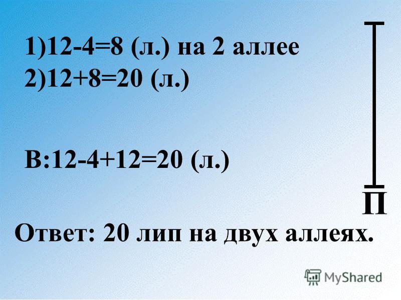 1)12-4=8 (л.) на 2 аллее 2)12+8=20 (л.) В:12-4+12=20 (л.) Ответ: 20 лип на двух аллеях. П