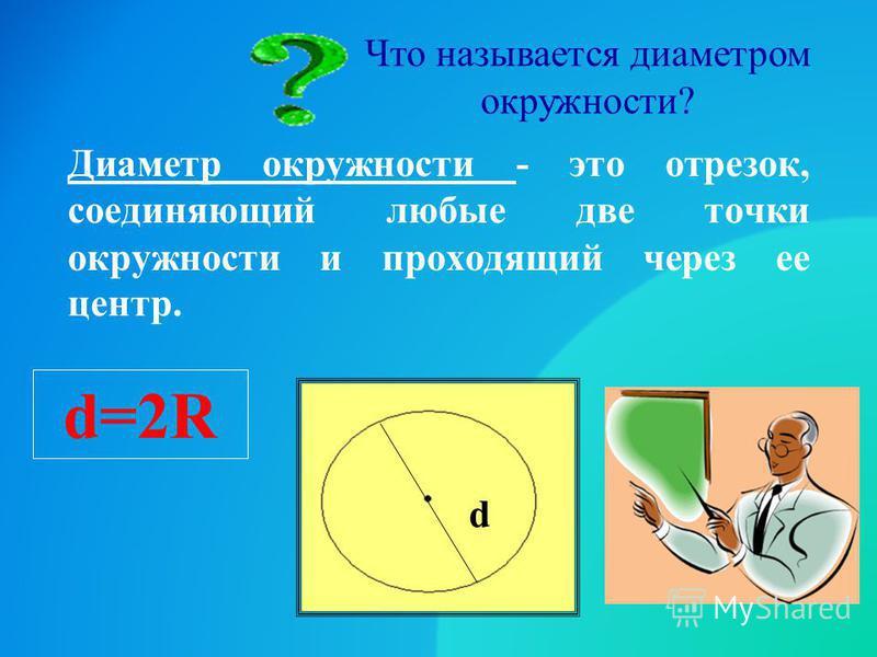 Что называется диаметром окружности? Диаметр окружности - это отрезок, соединяющий любые две точки окружности и проходящий через ее центр. d d=2R