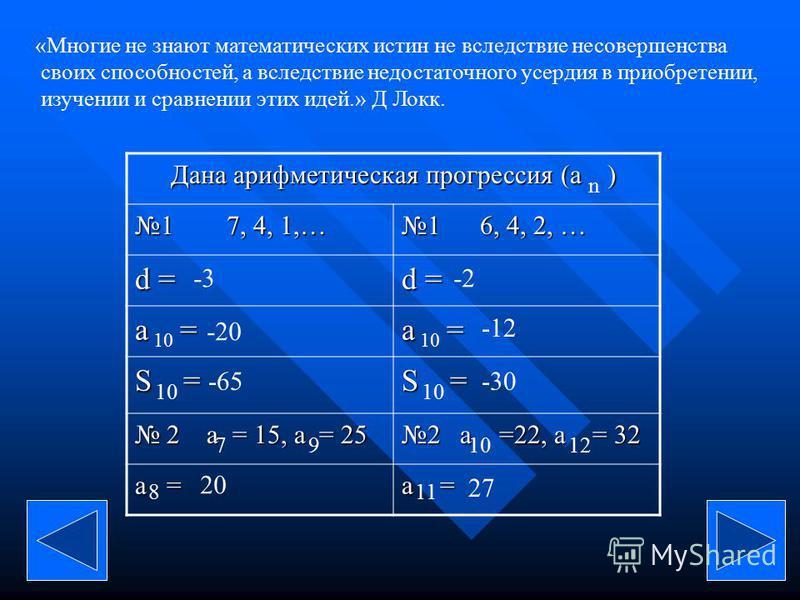 «Многие не знают математических истин не вследствие несовершенства своих способностей, а вследствие недостаточного усердия в приобретении, изучении и сравнении этих идей.» Д Локк. Дана арифметическая прогрессия (a ) 1 7, 4, 1,… 1 6, 4, 2, … d = a = S