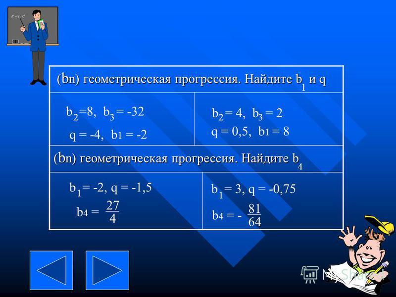 ( b n) геометрическая прогрессия. Найдите b и q ( b n) геометрическая прогрессия. Найдите b и q ( b n) геометрическая прогрессия. Найдите b 1 b =8, b = -32 23 b = 4, b = 2 23 4 b = -2, q = -1,5 1 b = 3, q = -0,75 1 q = -4, b 1 = -2 q = 0,5, b 1 = 8 b