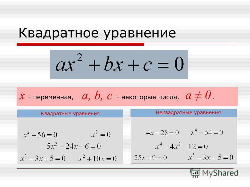 Квадратное уравнение Квадратные уравнения Неквадратные уравнения - переменная, - некоторые числа,. х a, b, c a 0