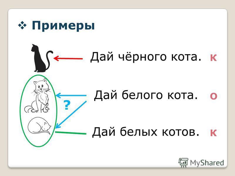 Примеры Дай чёрного кота. Дай белого кота. Дай белых котов. К К О ?