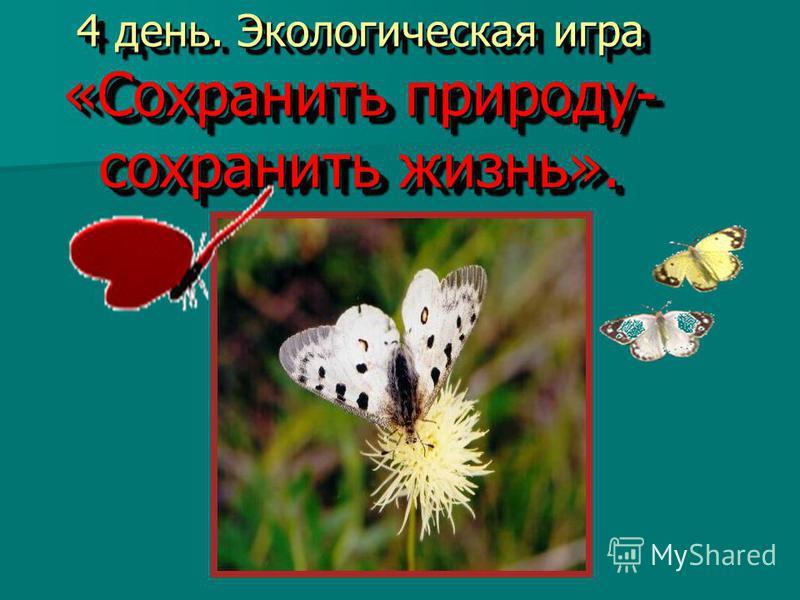 4 день. Экологическая игра «Сохранить природу- сохранить жизнь». 4 день. Экологическая игра «Сохранить природу- сохранить жизнь».