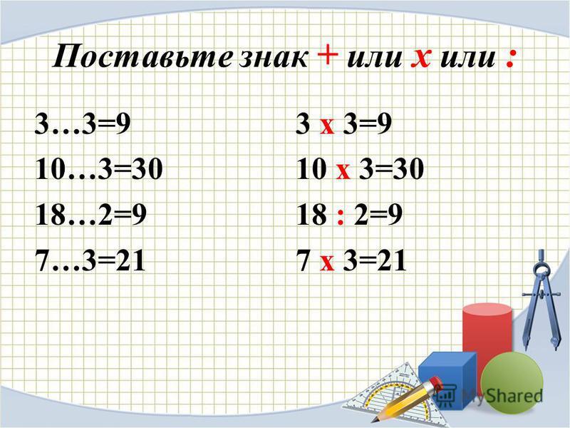 Поставьте знак + или х или : 3…3=9 10…3=30 18…2=9 7…3=21 3 х 3=9 10 х 3=30 18 : 2=9 7 х 3=21