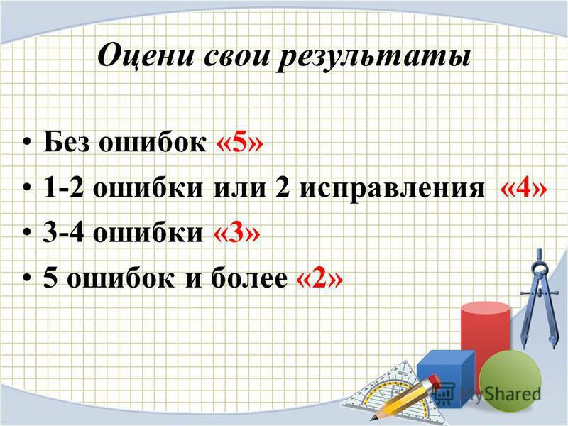 Оцени свои результаты Без ошибок «5» 1-2 ошибки или 2 исправления «4» 3-4 ошибки «3» 5 ошибок и более «2»