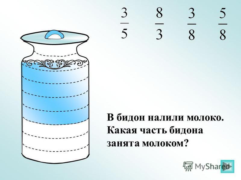 В бидон налили молоко. Какая часть бидона занята молоком?