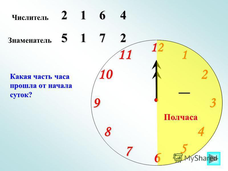 1 2 9 61211 10 8 7 4 5 3 Числитель 264 Знаменатель 517 Какая часть часа прошла от начала суток? 1 2 Полчаса