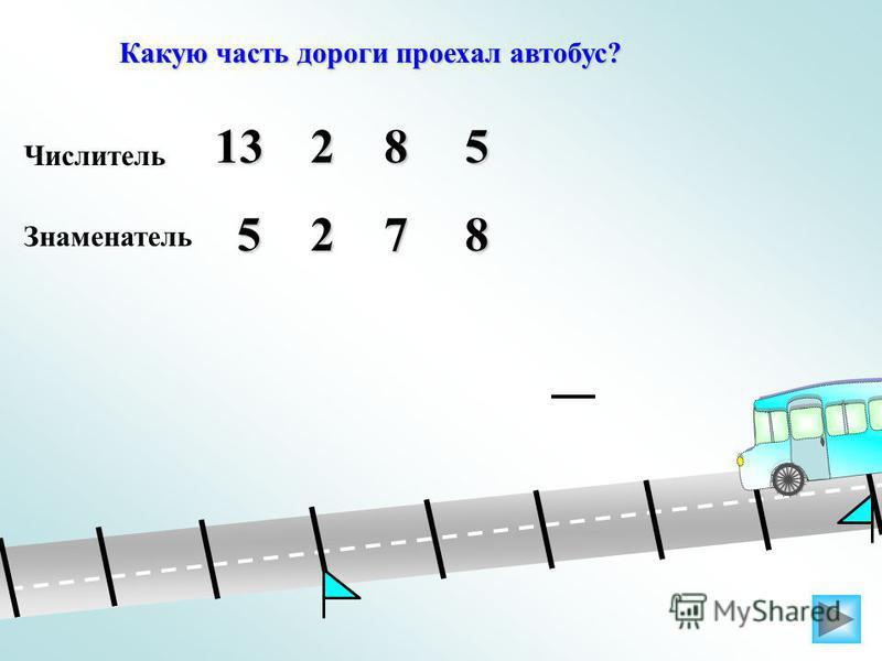 Какую часть дороги проехал автобус? Числитель 51382 Знаменатель 5278