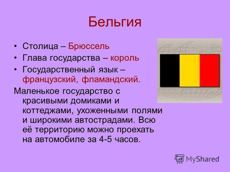 Бельгия Столица – Брюссель Глава государства – король Государственный язык – французский, фламандский. Маленькое государство с красивыми домиками и коттеджами, ухоженными полями и широкими автострадами. Всю её территорию можно проехать на автомобиле