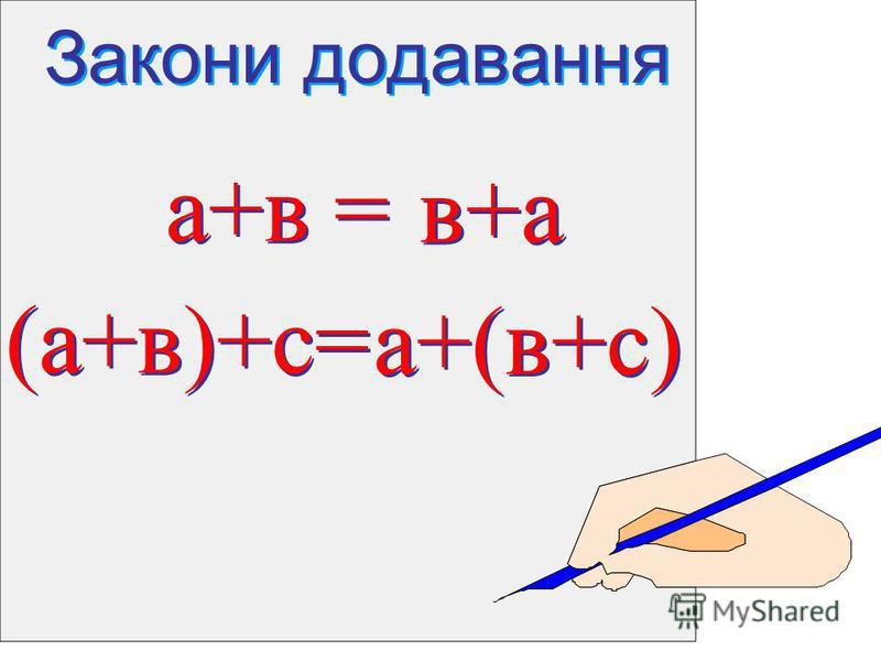 Закони додавання Закони додавання а+в = а+в = в+а (а+в)+с= (а+в)+с= а+(в+с)