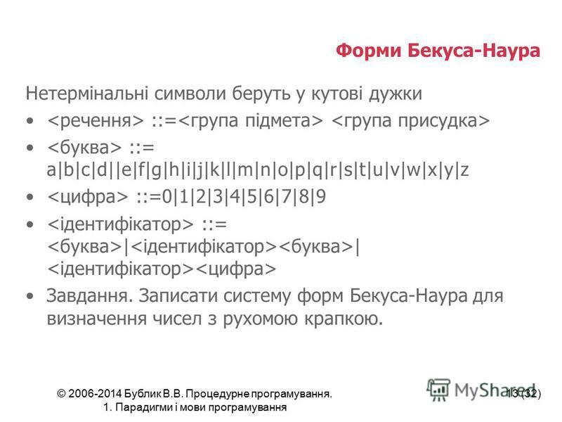 © 2006-2014 Бублик В.В. Процедурне програмування. 1. Парадигми і мови програмування 13 (32) Форми Бекуса-Наура Нетермінальні символи беруть у кутові дужки ::= ::= a|b|c|d||e|f|g|h|i|j|k|l|m|n|o|p|q|r|s|t|u|v|w|x|y|z ::=0|1|2|3|4|5|6|7|8|9 ::= | | Зав