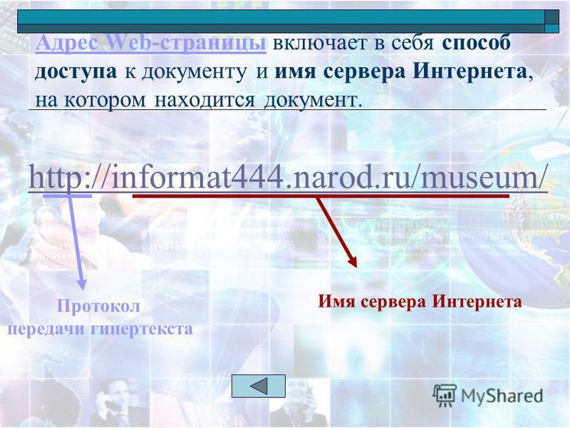 Адрес Web-страницы включает в себя способ доступа к документу и имя сервера Интернета, на котором находится документ. http://informat444.narod.ru/museum/ Протокол передачи гипертекста Имя сервера Интернета