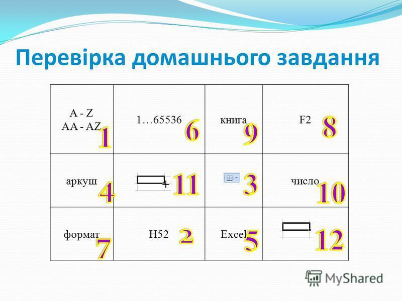 Перевірка домашнього завдання A - Z AA - AZ 1…65536книгаF2 аркушчисло форматН52Excel