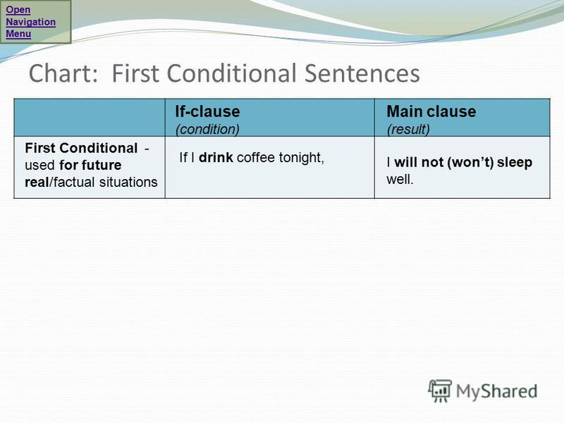 Chart: First Conditional Sentences If-clause (condition) Main clause (result) First Conditional - used for future real/factual situations If I drink coffee tonight, I will not (wont) sleep well. Open Navigation Menu