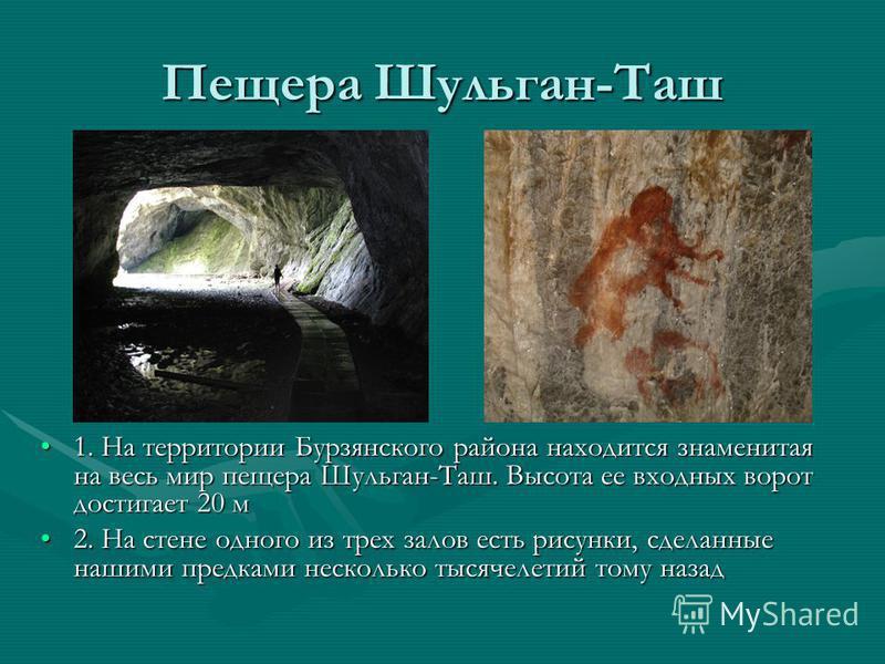 Пещера Шульган-Таш 1. На территории Бурзянского района находится знаменитая на весь мир пещера Шульган-Таш. Высота ее входных ворот достигает 20 м 2. На стене одного из трех залов есть рисунки, сделанные нашими предками несколько тысячелетий тому наз
