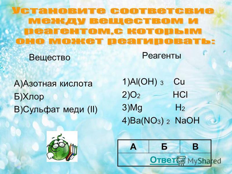 Вещество А)Азотная кислота Б)Хлор В)Сульфат меди (II) Реагенты 1)Al(OH) 3 Cu 2)O 2 HCl 3)Mg H 2 4)Ba(NO 3 ) 2 NaOH АБВ Ответ: