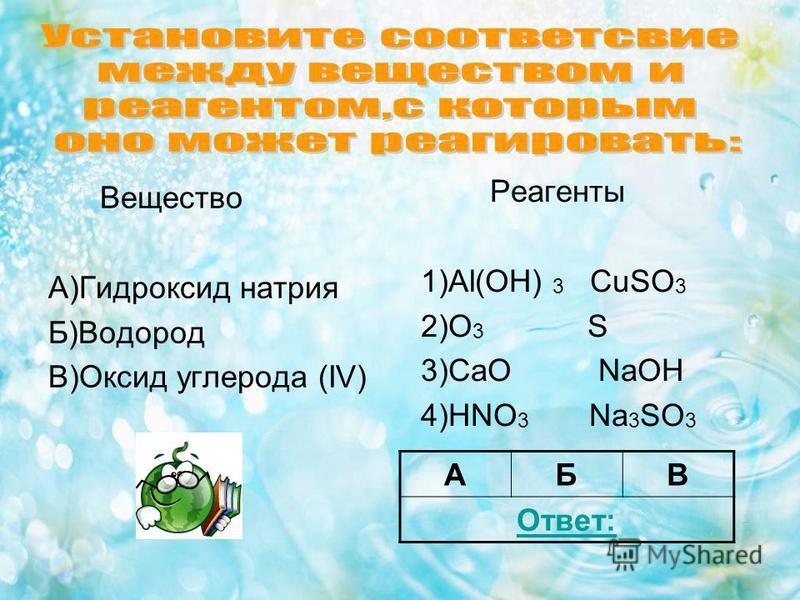 Вещество А)Гидроксид натрия Б)Водород В)Оксид углерода (IV) Реагенты 1)Al(OH) 3 CuSO 3 2)O 3 S 3)CaO NaOH 4)HNO 3 Na 3 SO 3 АБВ Ответ: