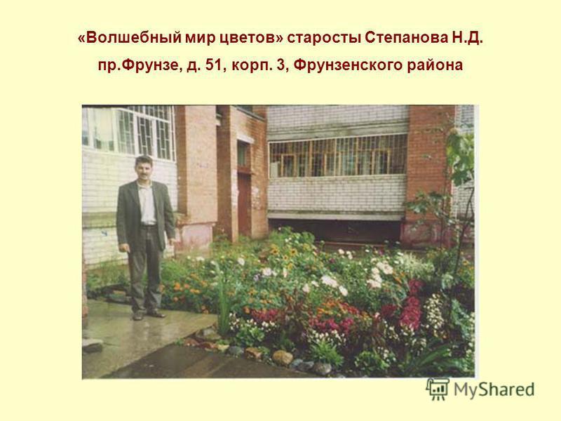 «Волшебный мир цветов» старосты Степанова Н.Д. пр.Фрунзе, д. 51, корп. 3, Фрунзенского района