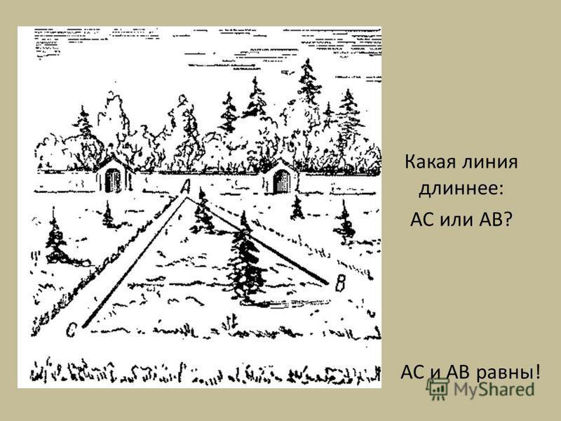 Какая линия длиннее: AC или AB? AC и AB равны!