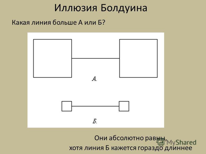 Иллюзия Болдуина Какая линия больше А или Б? Они абсолютно равны, хотя линия Б кажется гораздо длиннее