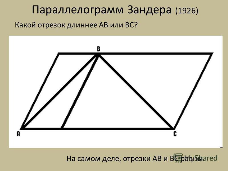Параллелограмм Зандера (1926) Какой отрезок длиннее AB или BC? На самом деле, отрезки AB и BC равны.