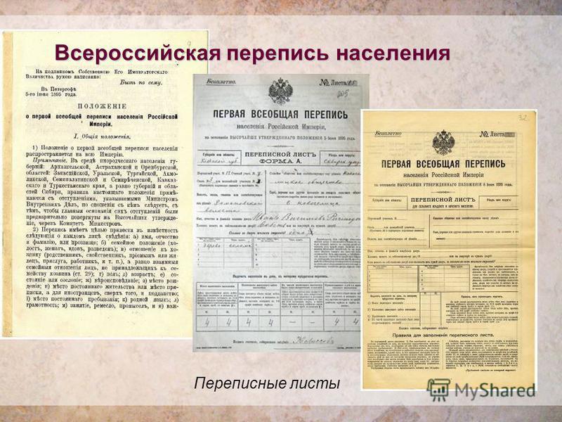 Всероссийская перепись населения Переписные листы