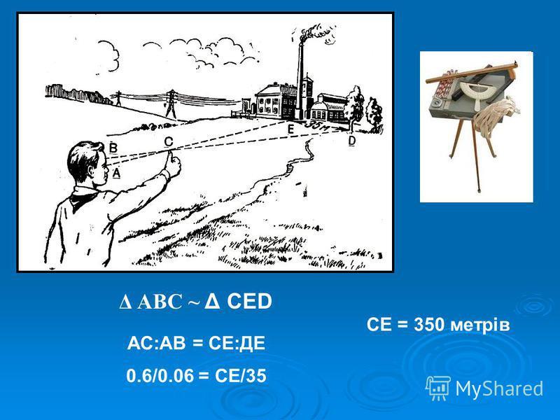 Δ АВС ~ Δ СЕD АС:АВ = СЕ:ДЕ 0.6/0.06 = СЕ/35 СЕ = 350 метрів