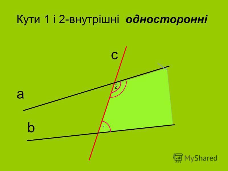 b а с Кути 1 i 2-внутрiшнi одностороннi 1 2