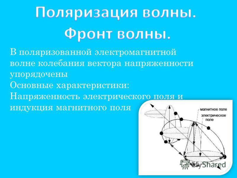 В поляризованной электромагнитной волне колебания вектора напряженности упорядочены Основные характеристики: Напряженность электрического поля и индукция магнитного поля
