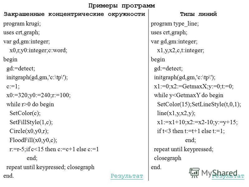 Закрашенные концентрические окружности program krugi; uses crt,graph; var gd,gm:integer; x0,r,y0:integer;c:word; begin gd:=detect; initgraph(gd,gm,'c:\tp\'); c:=1; x0:=320;y0:=240;r:=100; while r>0 do begin SetColor(c); SetFillStyle(1,c); Circle(x0,y