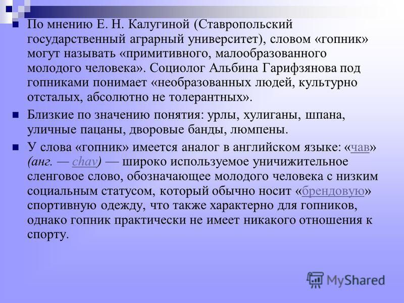 По мнению Е. Н. Калугиной (Ставропольский государственный аграрный университет), словом «гопник» могут называть «примитивного, малообразованного молодого человека». Социолог Альбина Гарифзянова под гопниками понимает «необразованных людей, культурно