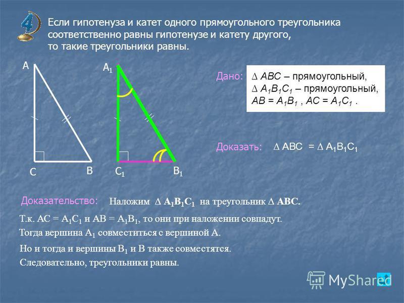Если гипотенуза и катет одного прямоугольного треугольника соответственно равны гипотенузе и катету другого, то такие треугольники равны. В А А1А1 С С1С1 В1В1 Дано: Доказать: Доказательство: АВС = А 1 В 1 С 1 АВС – прямоугольный, А 1 В 1 С 1 – прямоу