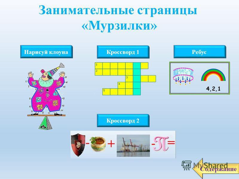 Журнал «Мурзилка» имеет прекрасный сайт на котором в красочной и забавной форме представлены шарады, кроссворды, загадки, головоломки и другие игры. Содержание Адрес сайта http://www.murzilka.org/http://www.murzilka.org/ Настоящее журнала «Мурзилка»
