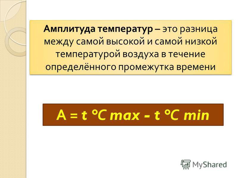 Амплитуда температур – это разница между самой высокой и самой низкой температурой воздуха в течение определённого промежутка времени А = t ° С max - t ° С min