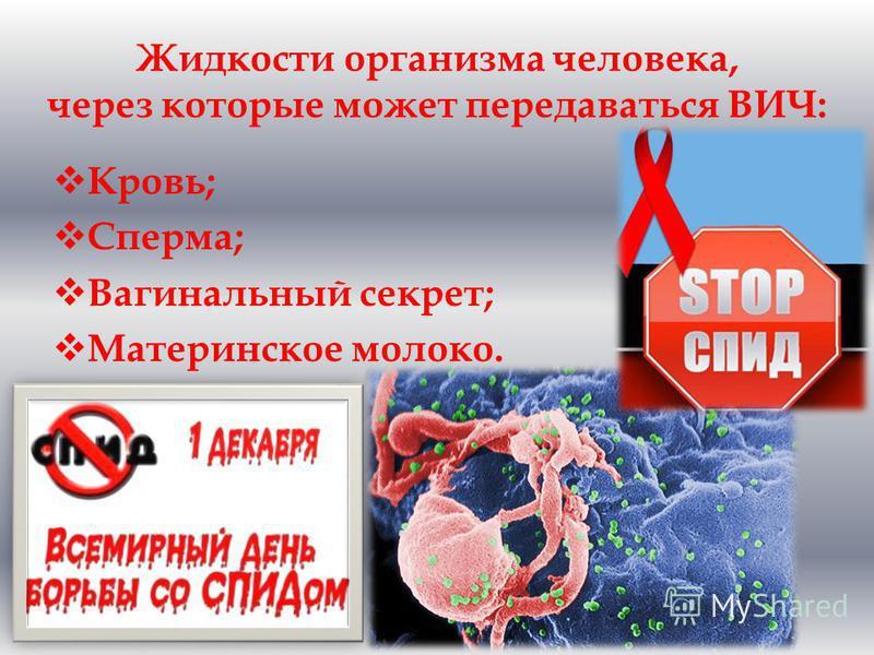 Жидкости организма человека, через которые может передаваться ВИЧ: Кровь; Сперма; Вагинальный секрет; Материнское молоко.