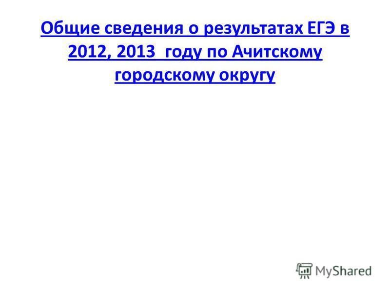 Общие сведения о результатах ЕГЭ в 2012, 2013 году по Ачитскому городскому округу Общие сведения о результатах ЕГЭ в 2012, 2013 году по Ачитскому городскому округу