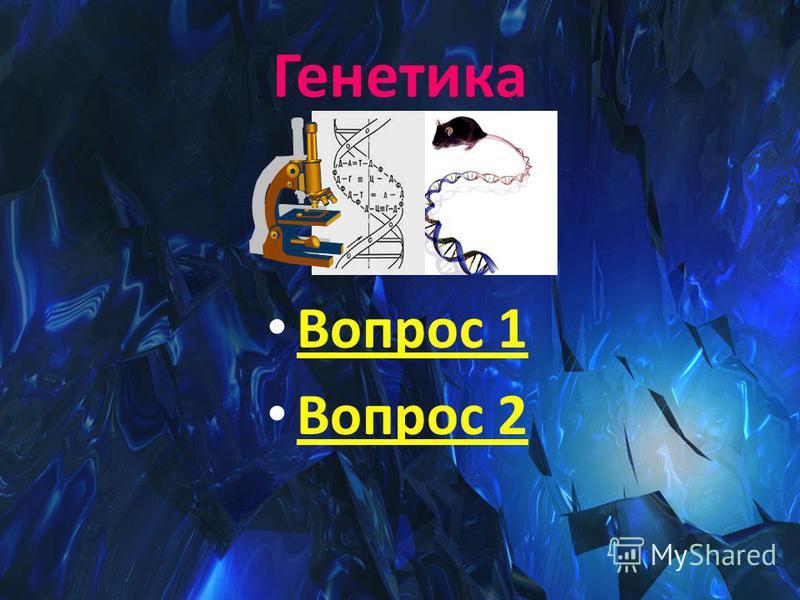 Генетика Вопрос 1 Вопрос 2